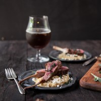 Belgian Ale Brined Lamb Rib Rack with Goat Cheese Polenta -3