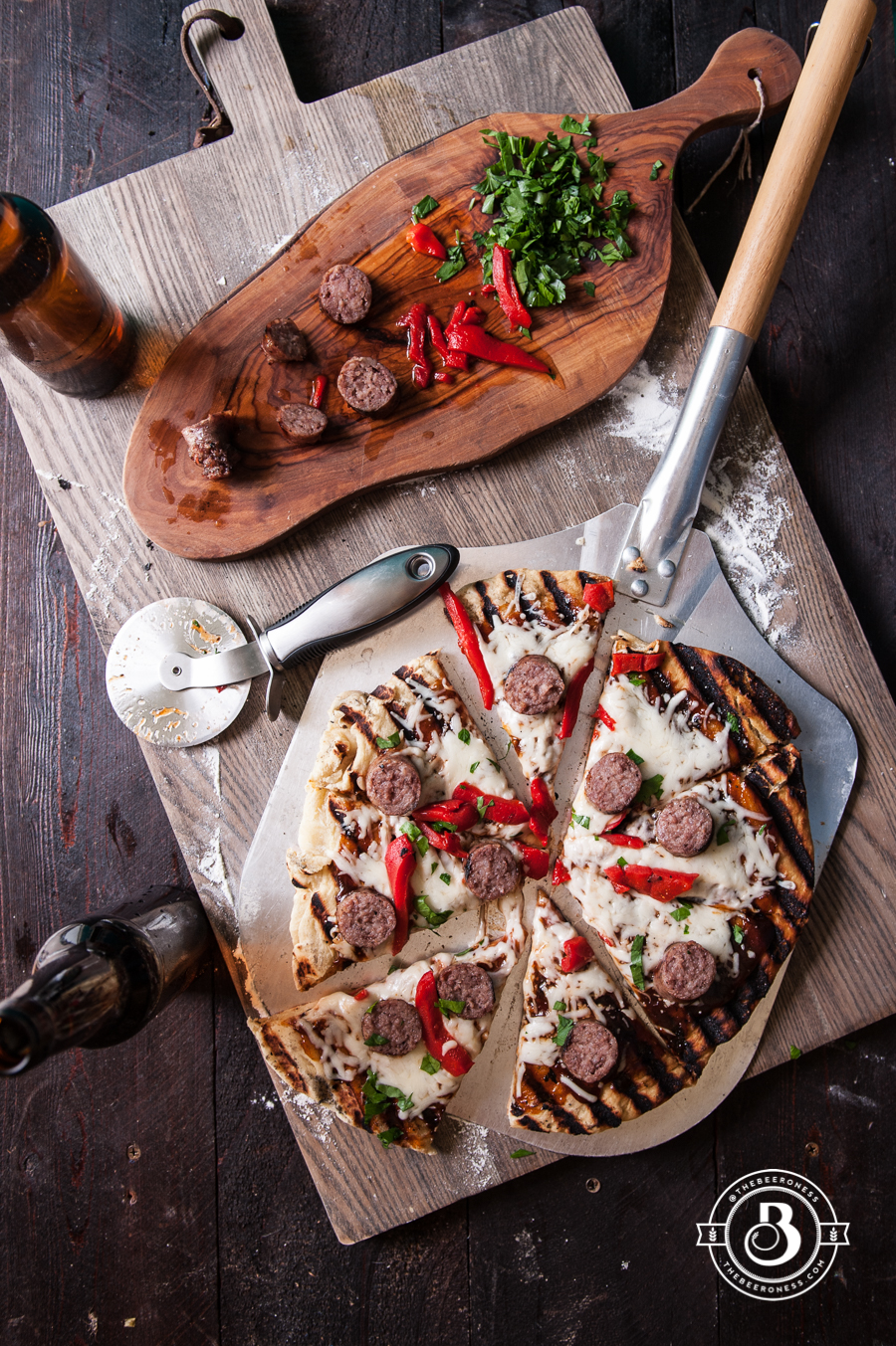 BBQ Beer Brat Tailgate Pizza & How To Prep A Grilled Pizza For Tailgating -6