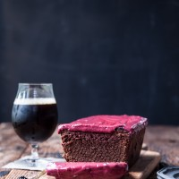 Chocolate Stout Loaf Cake with Raspberry Icing -1