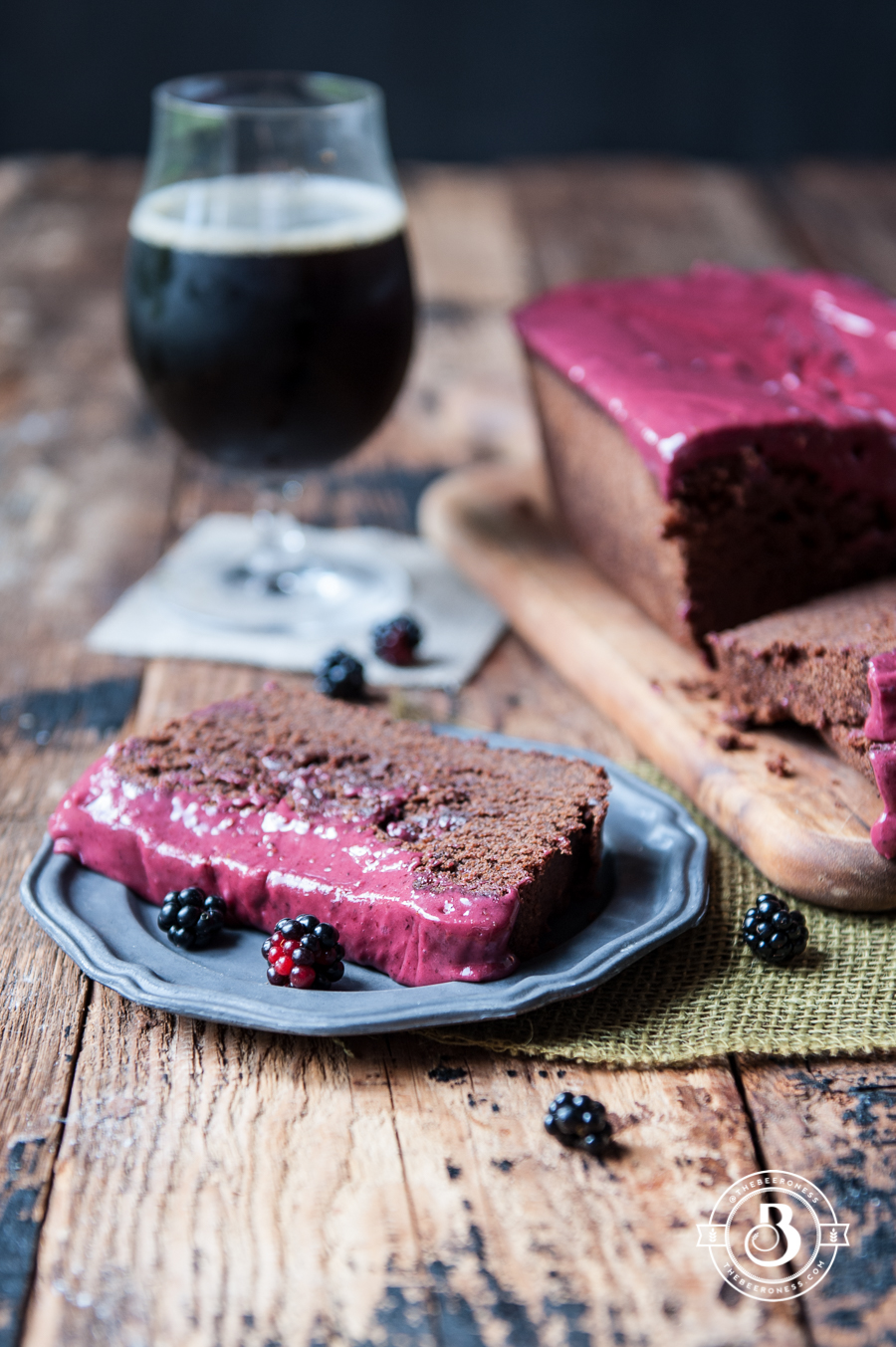 Chocolate Stout Loaf Cake with Raspberry Icing -5