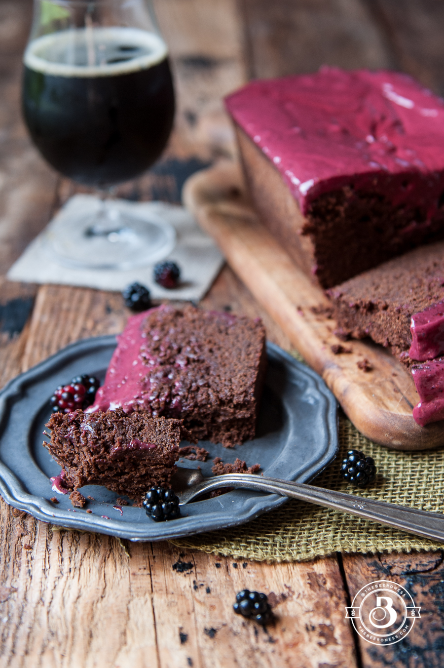 Chocolate Stout Loaf Cake with Raspberry Icing -6
