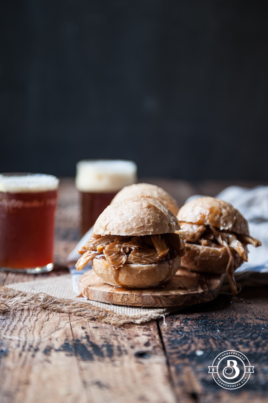 Slow Cooker Honey Chili Pulled Beer Chicken Sliders-2