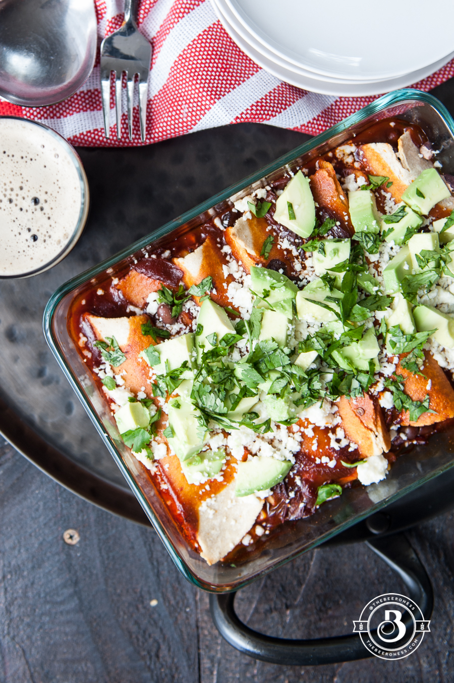 Bet vegan meal I've ever made. Corn and Black Bean Enchiladas with Chipotle Stout Red Sauce #vegan #recipe #meatless #vegetarian