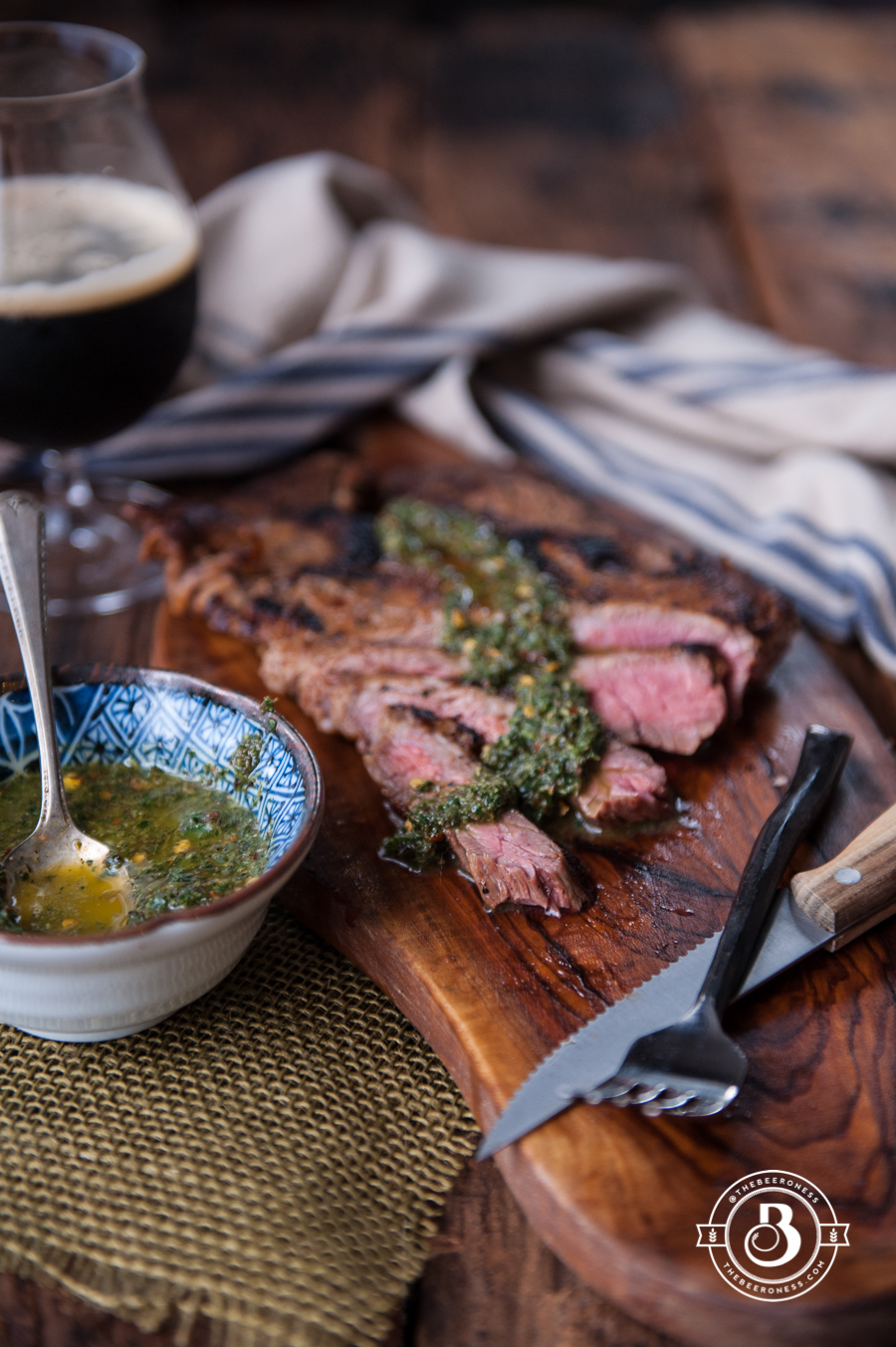 Beer Brined Pan Seared Flank Steak with Sage Chimichurri