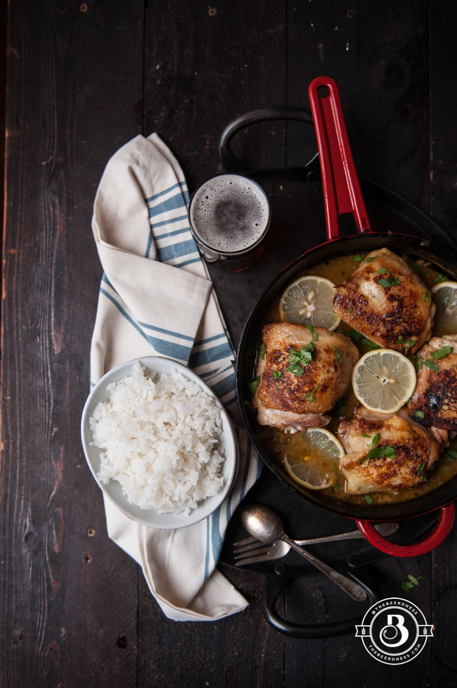 Beer Brined Lemon Garlic Skillet Chicken. 30 minutes, one pot, so good!