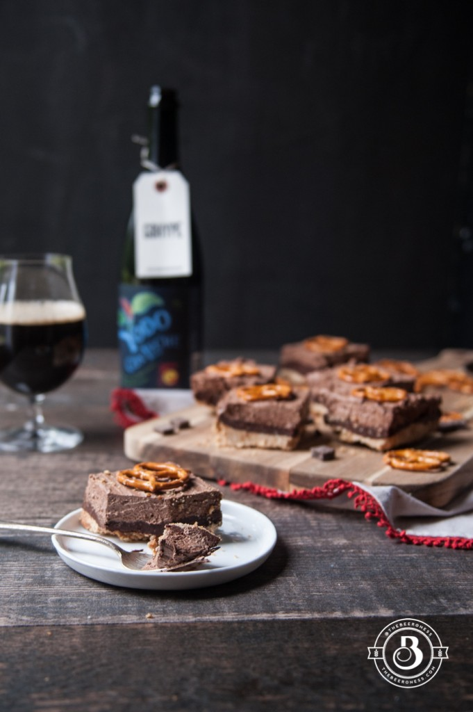 Chocolate Stout Truffle Mousse Bars with Pretzel Crust1
