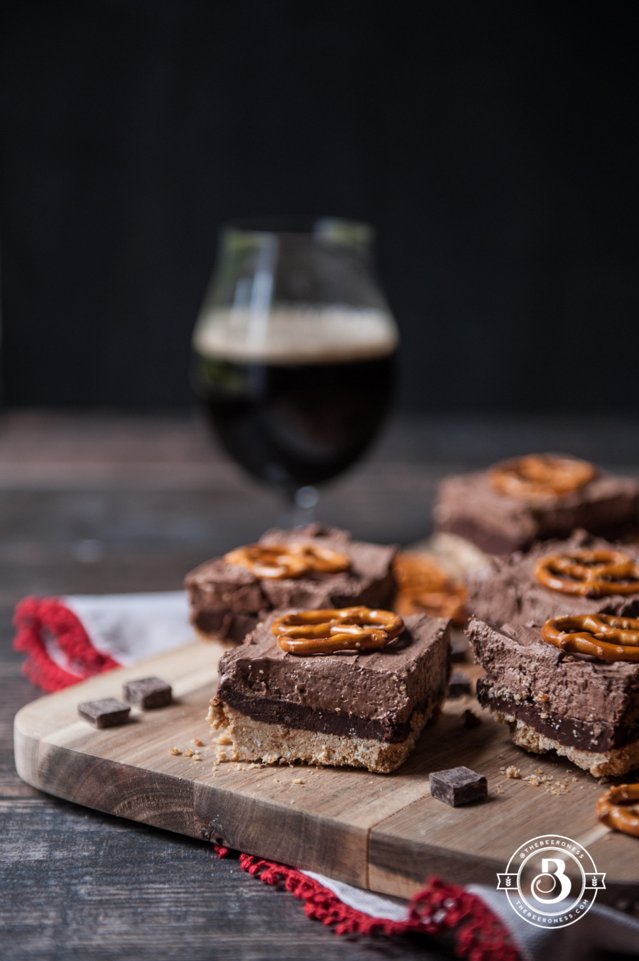 Chocolate Stout Truffle Mousse Bars with Pretzel Crust2