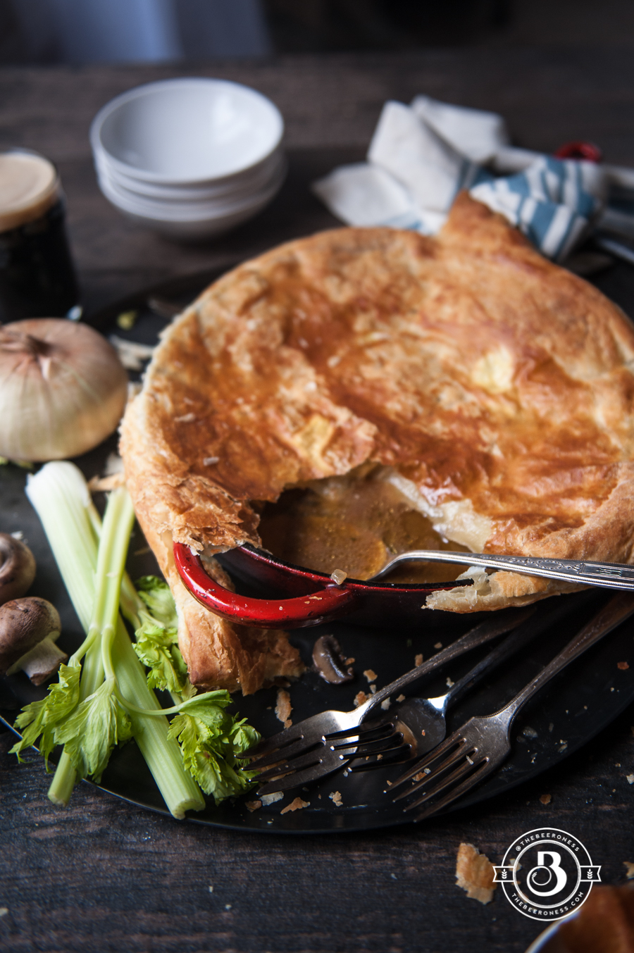 Mushroom Stout Skillet Chicken Pot Pie (with vegan option). One pot, thirty minutes, lick-the-pan-good.