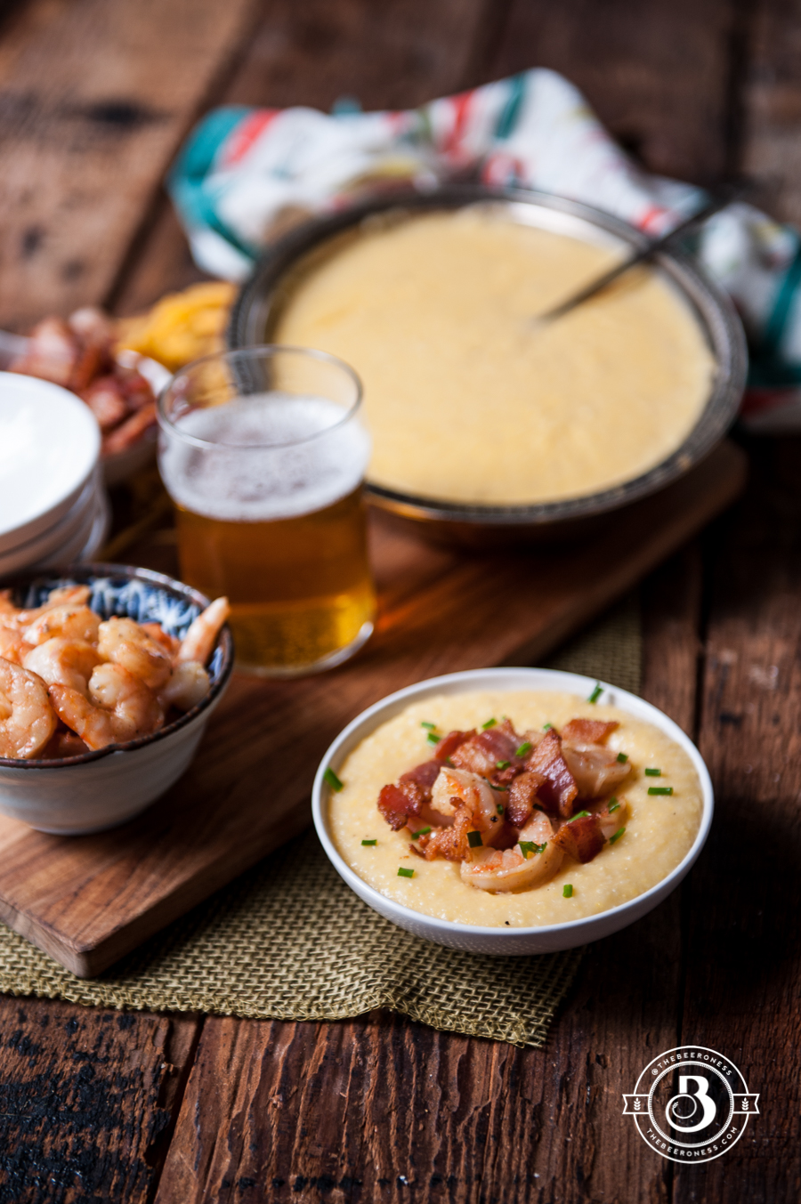 Bacon Beer Shrimp with Beer Cheese Grits4