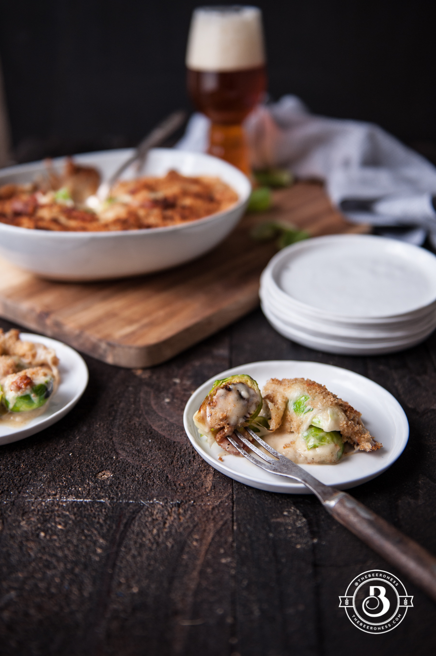 Bacon and Beer Cheese Brussels Sprout Gratin - The Beeroness