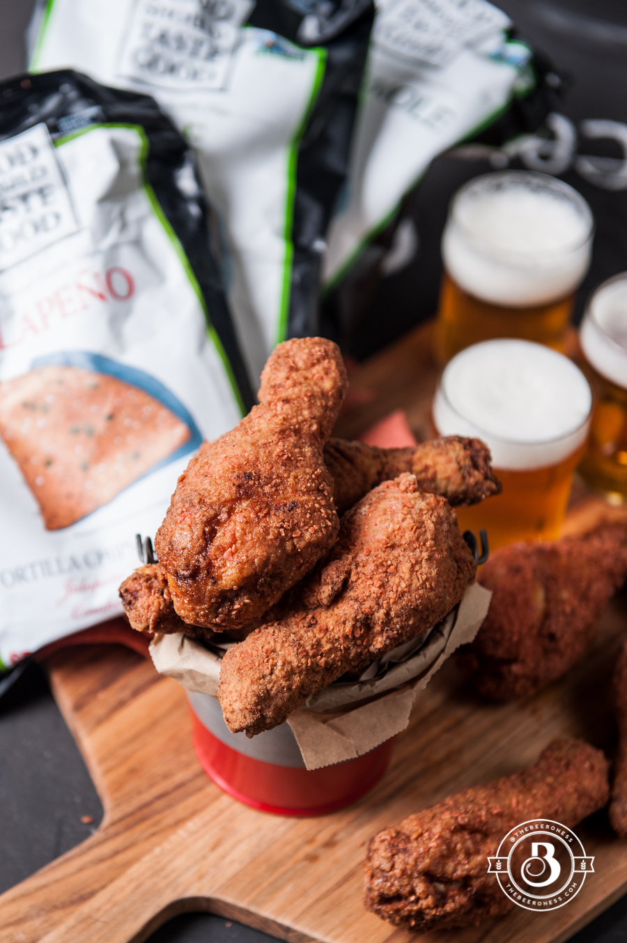 Jalapeno Chip CrustedBeer Brined Fried Chicken5