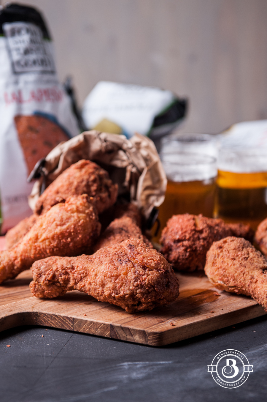Jalapeno Tortilla Chip Crusted Beer Brined Fried Chicken