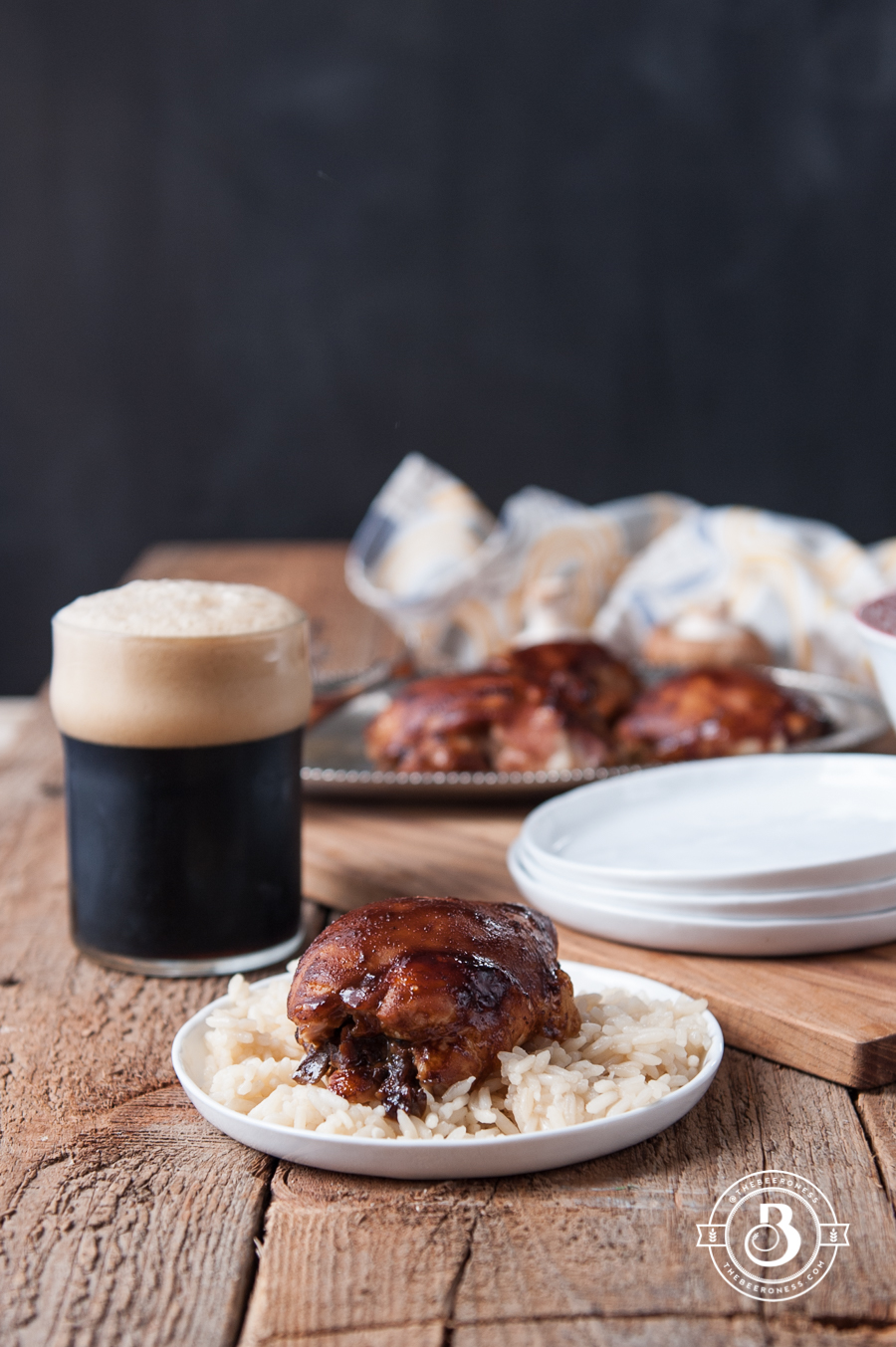Mushroom Stuffed Hoisin Stout Glazed Chicken Thighs2
