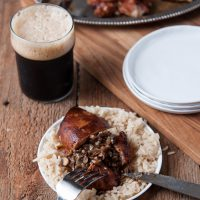 Mushroom Stuffed Hoisin Stout Glazed Chicken Thighs4