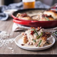 One Pot, Thirty Minutes Chicken in a Creamy Bacon Beer Sauce