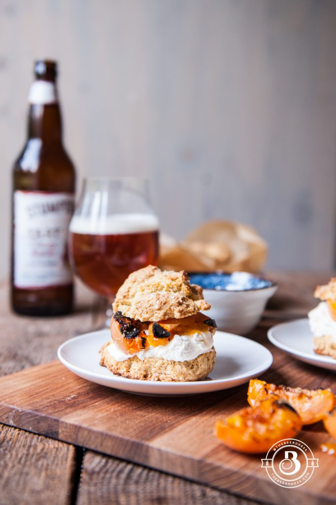 Grilled Apricot Saison Shortcakes with Ginger Mascarpone Whipped Cream1