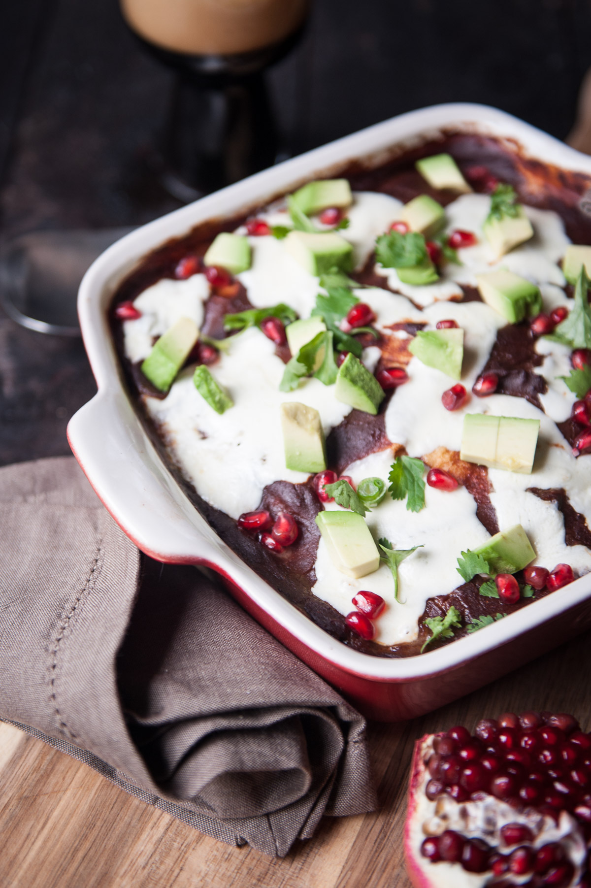 ... Enchiladas with Chipotle Stout Pomegranate Sauce - The Beeroness