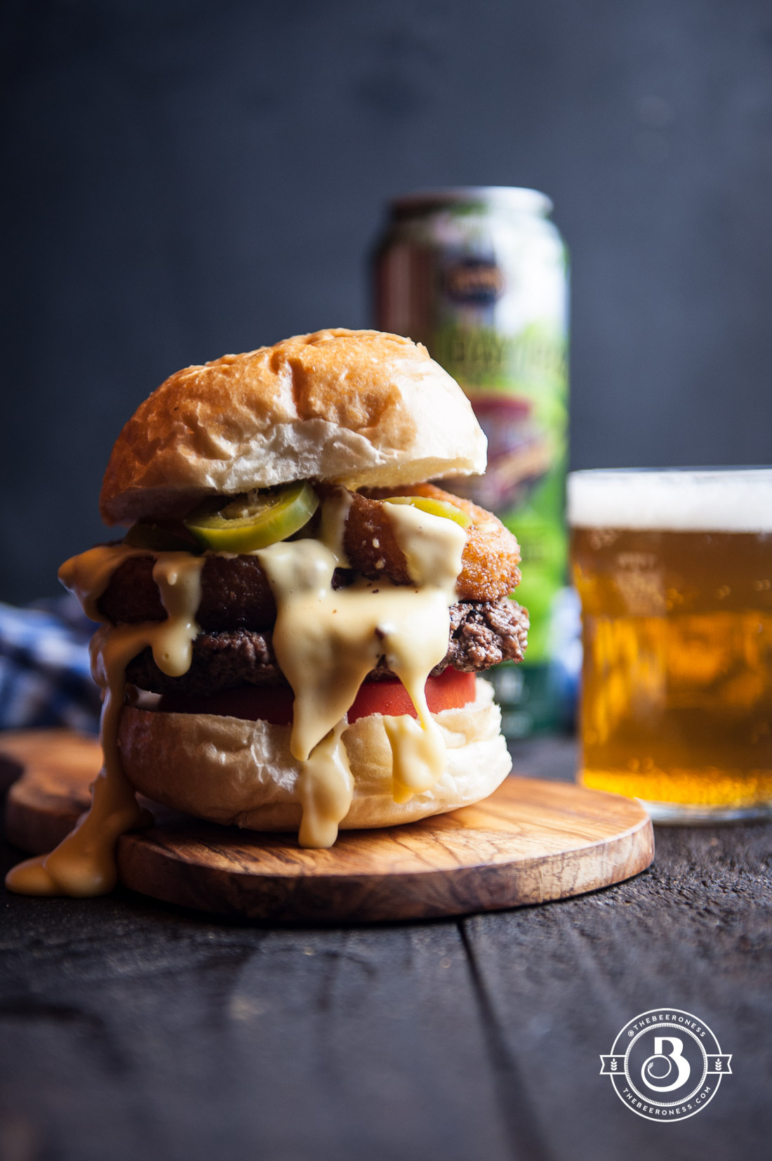 Beer Cheese Burger With Onion Rings And Beer Pickled