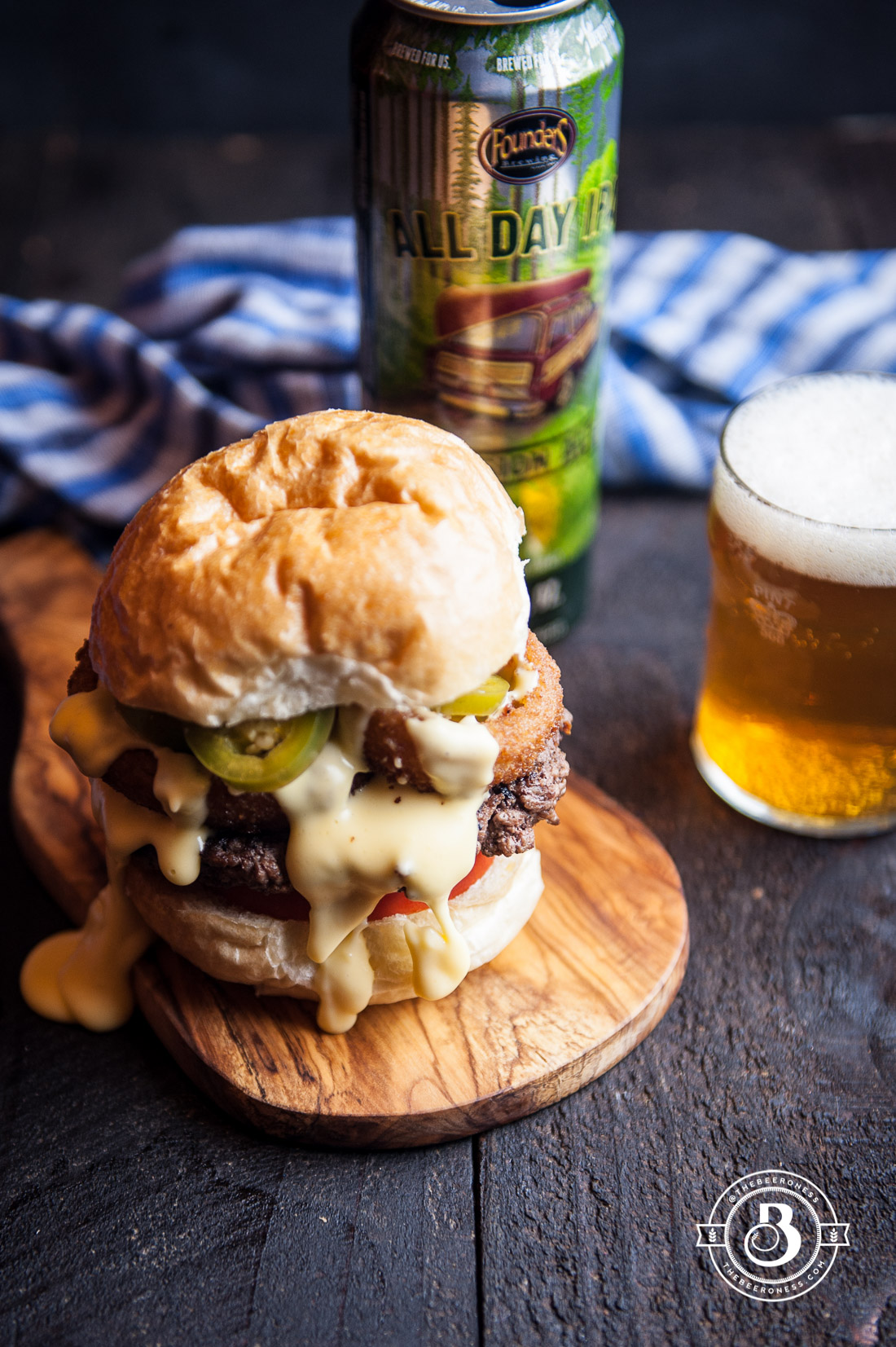 Beer Cheese Burger With Onion Rings And Beer Pickled Jalapenos The Beeroness