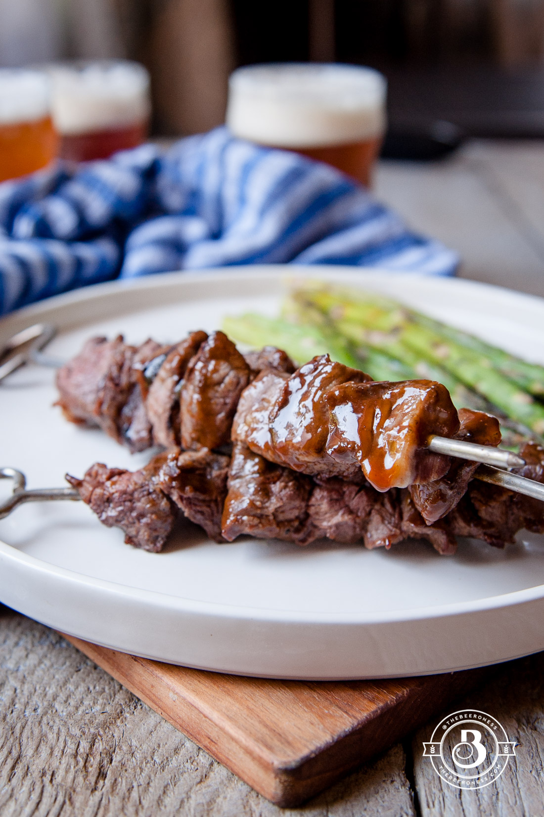 Grilled Beer Brined Filet Tips with Hoisin Glaze, just 4 ingredients and SO good.