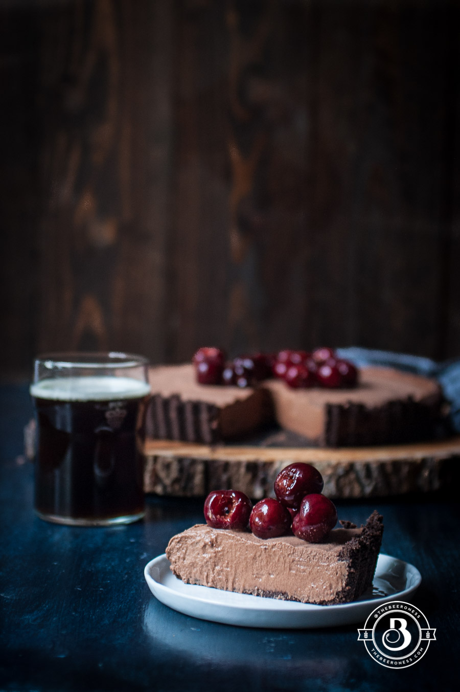 Chocolate Stout Mousse Tart with Bourbon Stout Cherries. Just a few ingredients and 20 minutes! So good, and so easy!