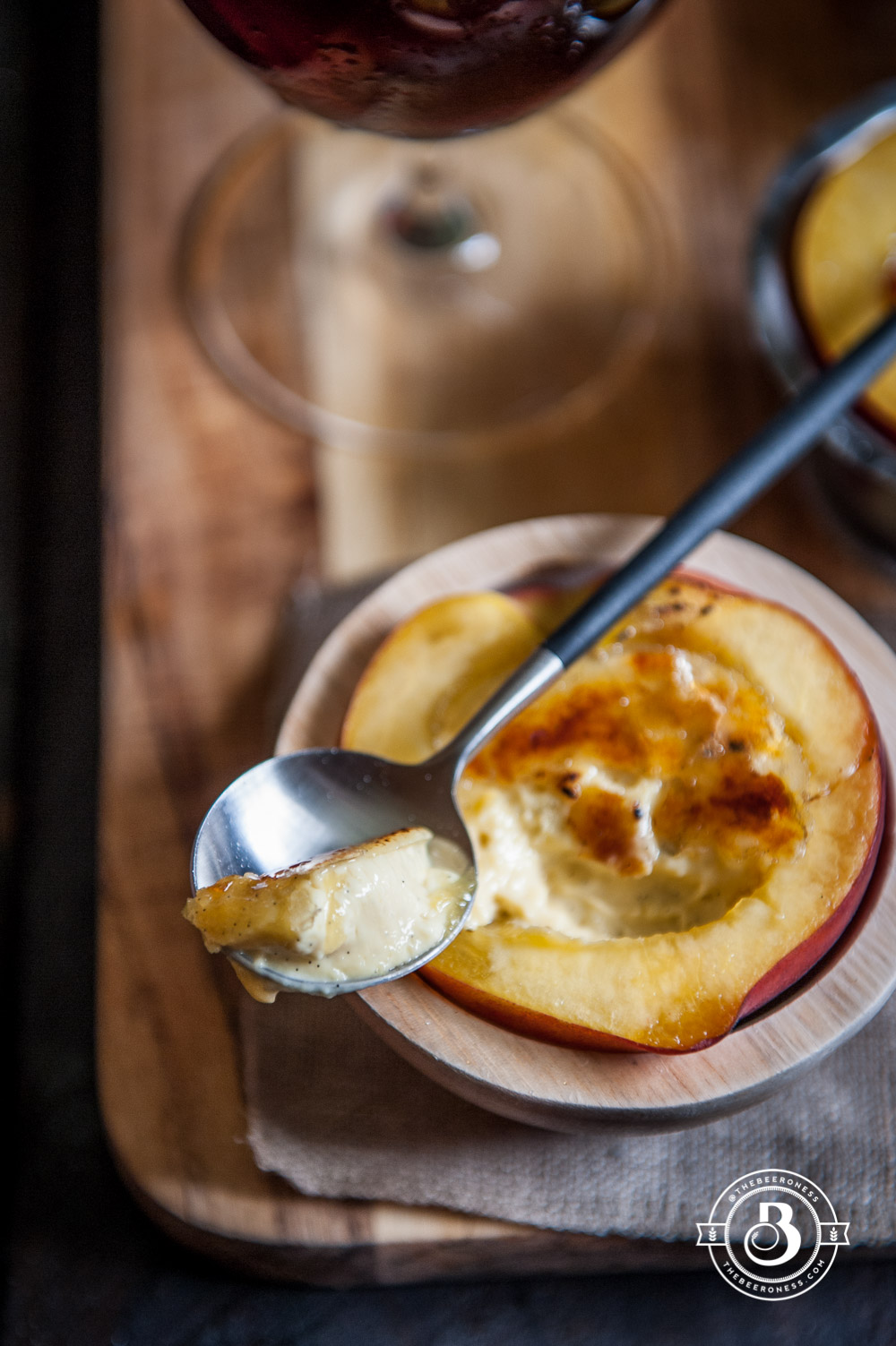 No-Bake Beer Creme Brûlée in a Peach Cup