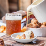 Kettle Brand Backyard Barbeque Chips Crusted Meatballs with Beer Honey Mustard Dipping Sauce