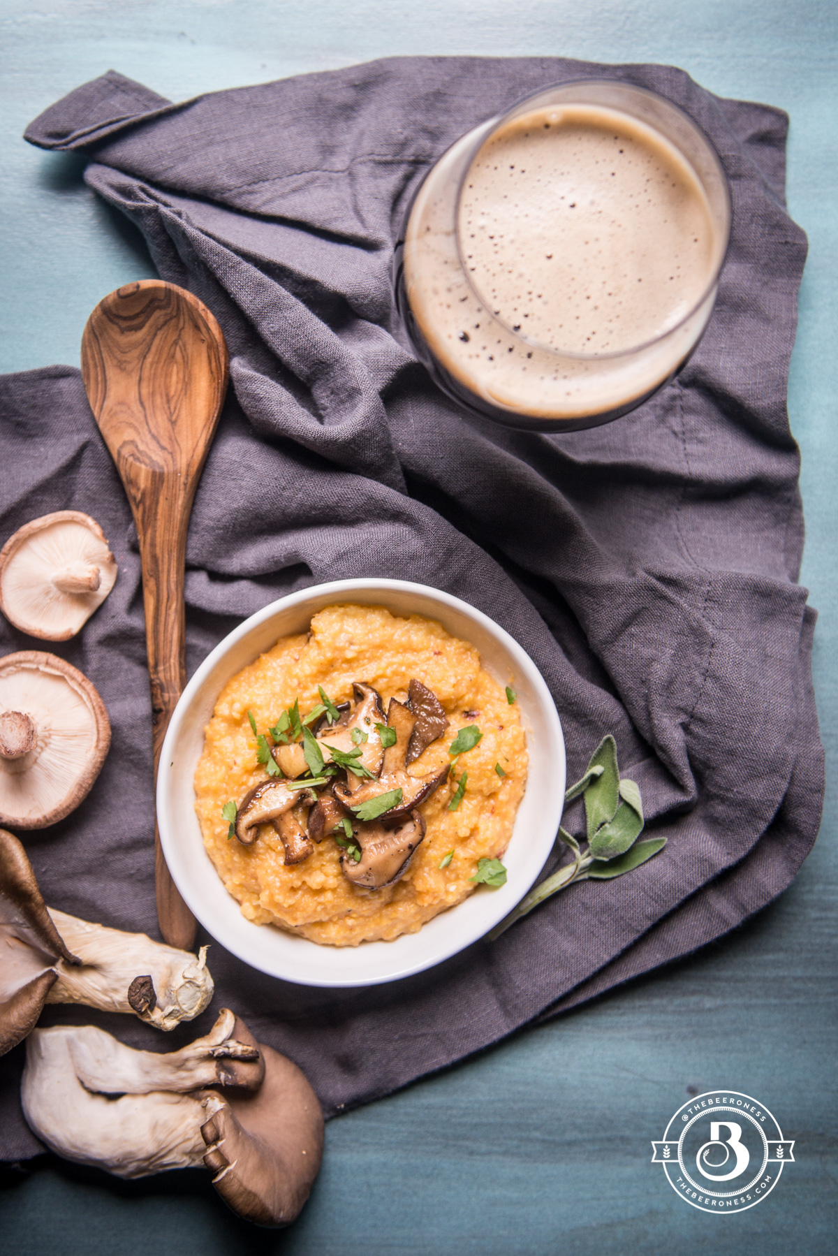 Chipotle Pale Ale Polenta with Stout Braised Mushrooms