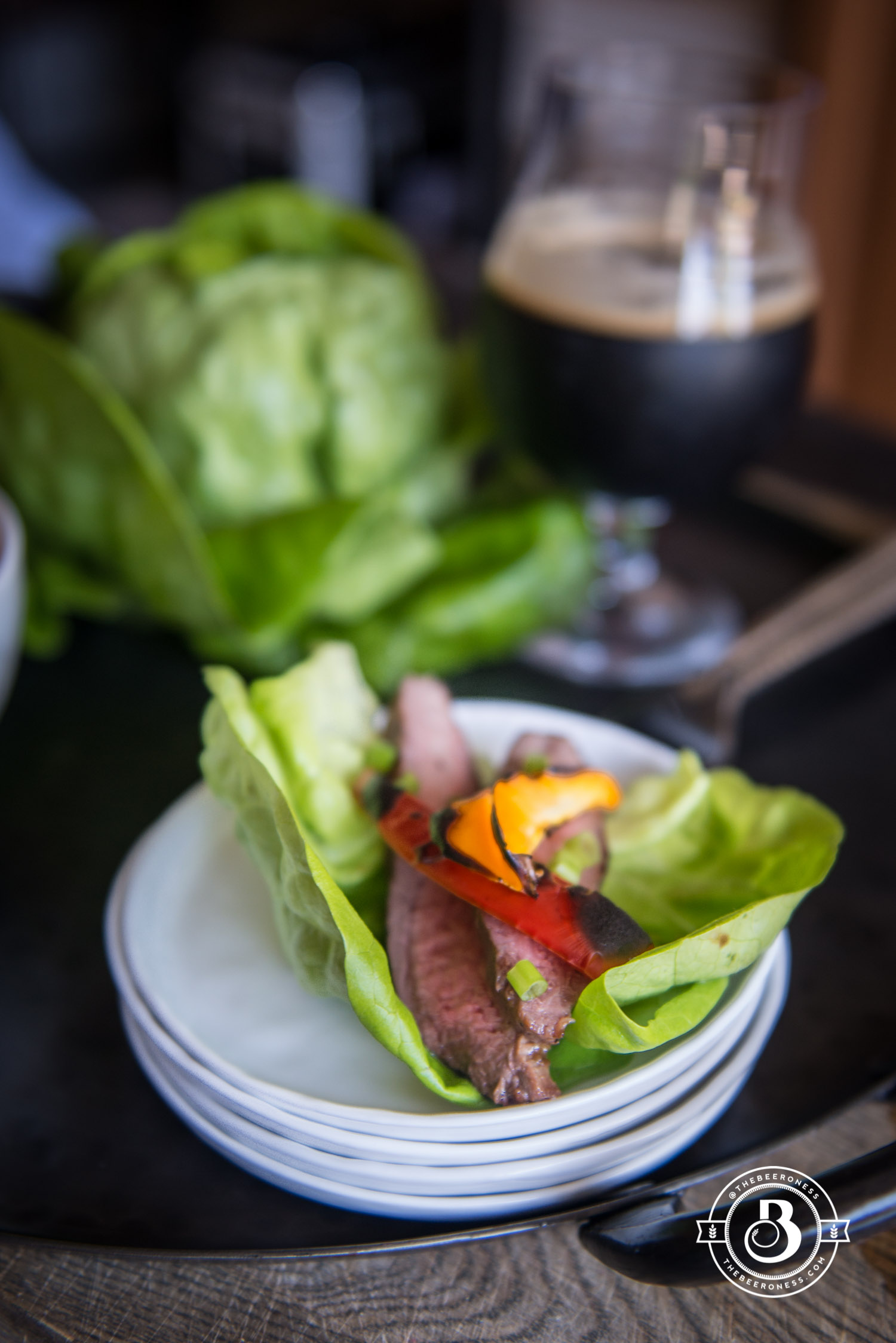 Honey Stout Glazed Flank Steak Lettuce Wraps