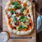 Squash Blossoms Garden Pizza with Beer Pickled Cherries and Beer Crust