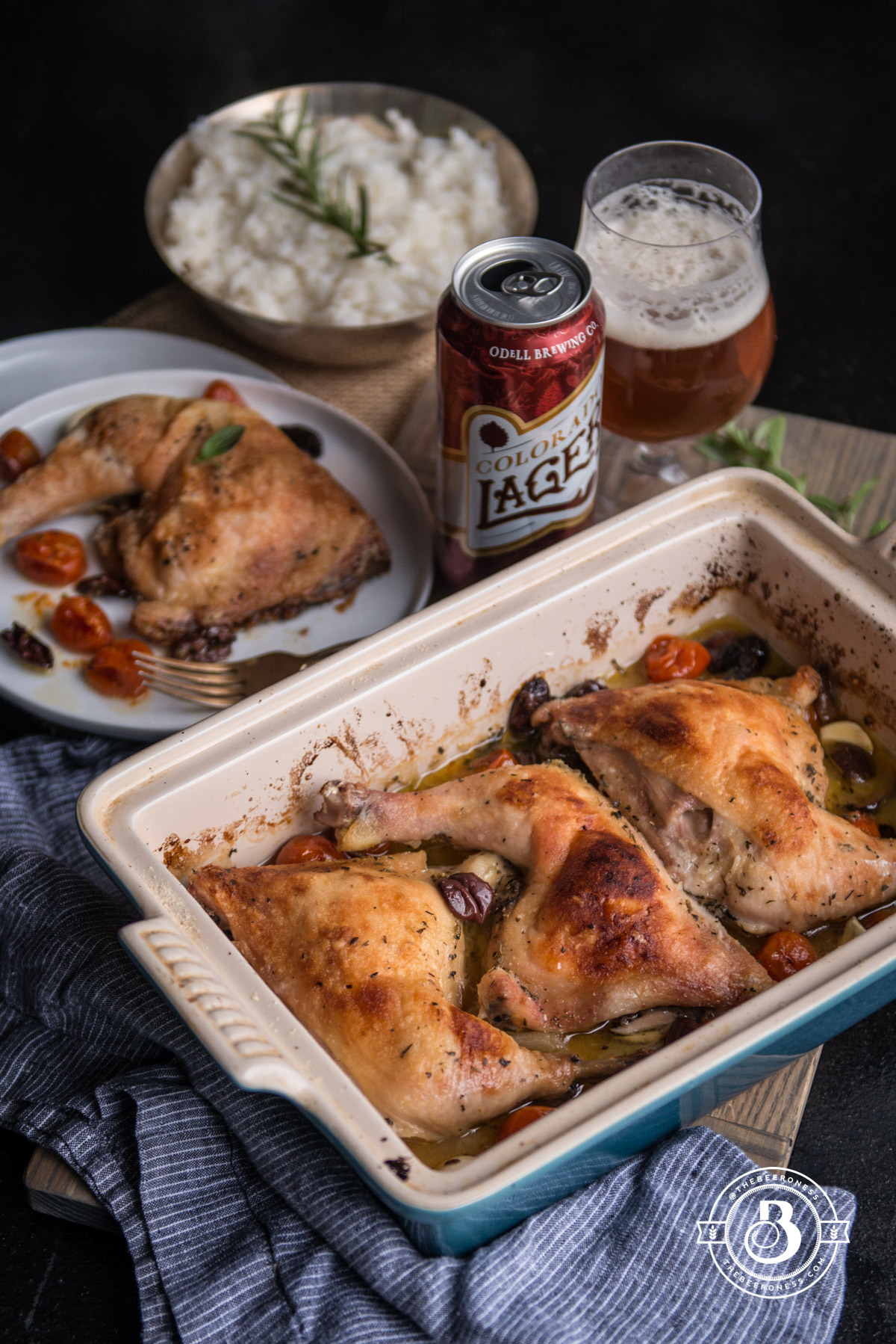 Provençal Beer Chicken, five minutes prep and perfect for weeknights or dinner parties!