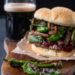 Gochujang Stout BBQ Burger with Fried Shallots and Blistered Shishitos
