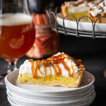 Golden Milk Tart with Honey Beer Caramel Sauce and Maple Whipped Cream