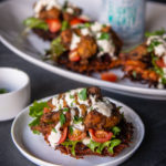 Beer Chicken Shawarma with Sweet Potato cakes and Tahini Aoili