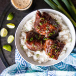 Hoisin Pineapple Beer Pork over Coconut Lime Rice