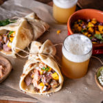 Tandoori Beer Lamb Wraps with Mango Mint Salsa and Harissa Feta Sauce