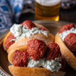 Tandoori Beer Meatball Subs with Garlic Raita