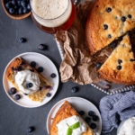 Blueberry Beer Cream Cheese Cake with Basil Whipped Cream