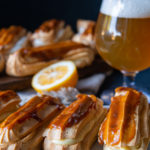 Lemon Ginger Éclairs with Beer Caramel Topping