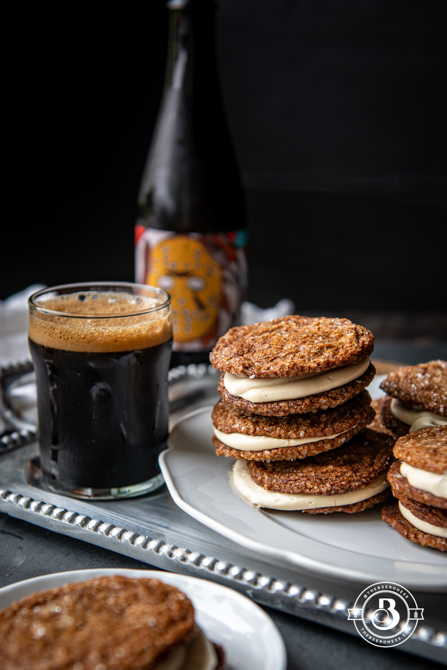 Chewy Gingerbread Cookies with Maple Stout Cream Cheese Filling