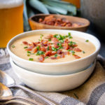 Beer Caramelized Leeks, Corn and Bacon Chowder