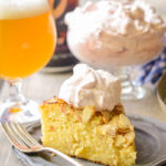 Almond Cake with Beer Caramelized Pineapples and Hibiscus Whipped Cream