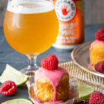 Mini Lime Olive Oil Beer Cakes with Hibiscus Icing