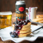 Ricotta Beer Pancakes with Blueberry Basil Syrup