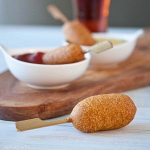 Beer Battered Mini Corn Dogs with Chipotle Ketchup