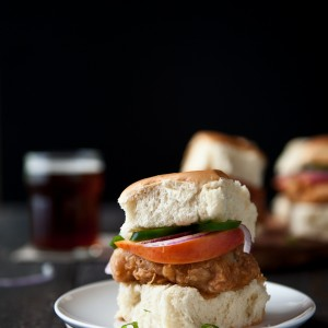 Fried Beer Chicken Sliders with Beer Pickled Peaches and Jalapenos