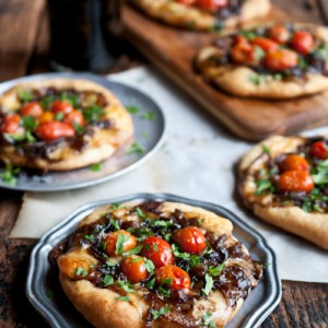Porter Caramelized Onion Flatbreads with Smoked Gouda and Roasted Tomatoes