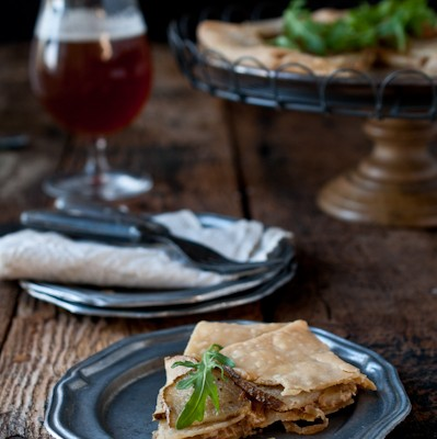 Potato, Porter Caramelized Onions & Beer Goat Cheese Tart