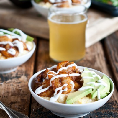 Spicy Beer Shrimp with Smokey Creamy Saison Polenta and Lime Crema