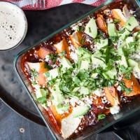 Corn and Black Bean Enchiladas with Chipotle Stout Red Sauce